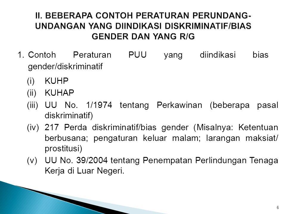 1.Contoh Peraturan PUU yang diindikasi bias gender/diskriminatif 6 (i)KUHP (ii)KUHAP (iii)UU No. 1/1974 tentang Perkawinan (beberapa pasal diskriminat