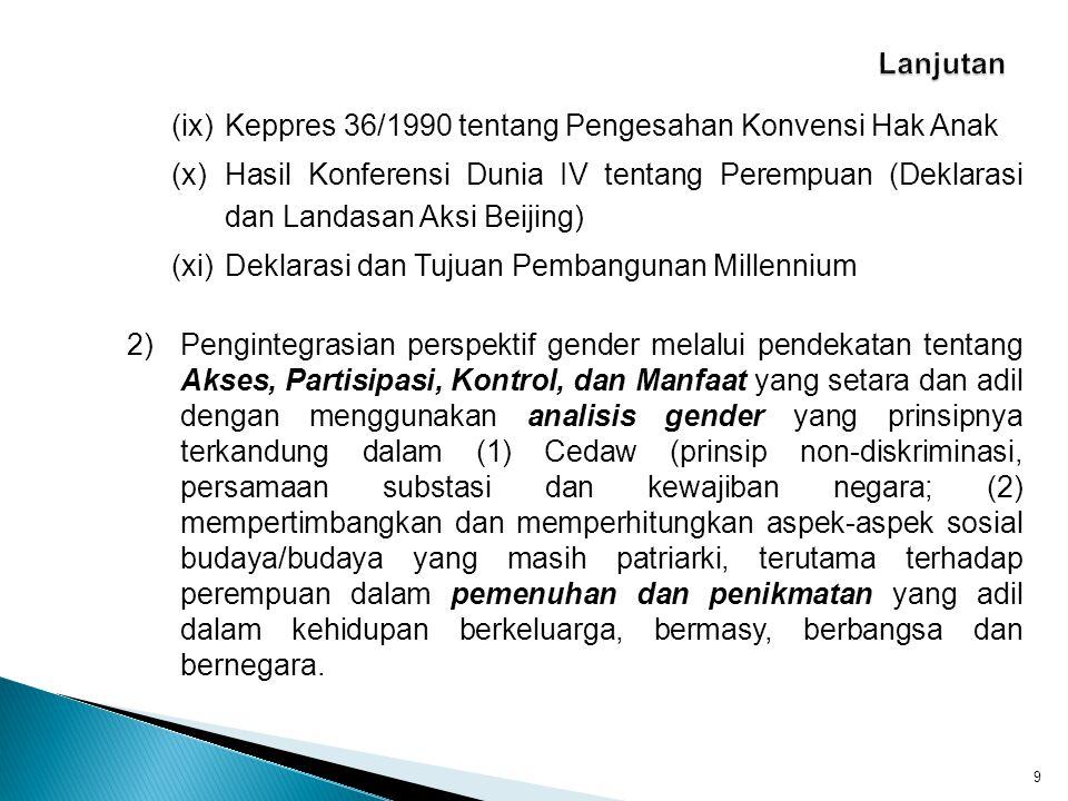 2.Tujuan Parameter Kesetaraan Gender dalam Pembentukan Peraturan Perundang-undangan 10 (i)Sebagai acuan untuk melakukan analisis dari perspektif gender dengan indikator akses, partisipasi, kontrol dan manfaat.