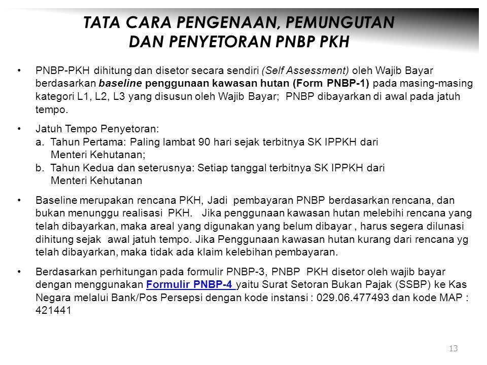 TATA CARA PENGENAAN, PEMUNGUTAN DAN PENYETORAN PNBP PKH •PNBP-PKH dihitung dan disetor secara sendiri (Self Assessment) oleh Wajib Bayar berdasarkan b