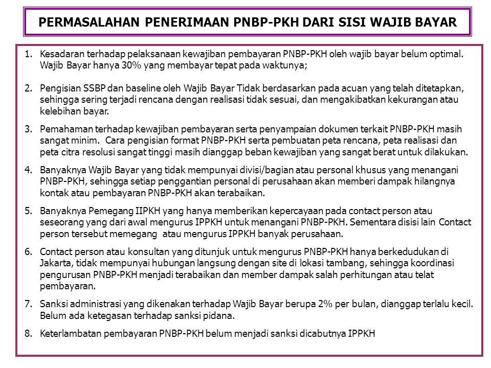 1.Kesadaran terhadap pelaksanaan kewajiban pembayaran PNBP-PKH oleh wajib bayar belum optimal. Wajib Bayar hanya 30% yang membayar tepat pada waktunya