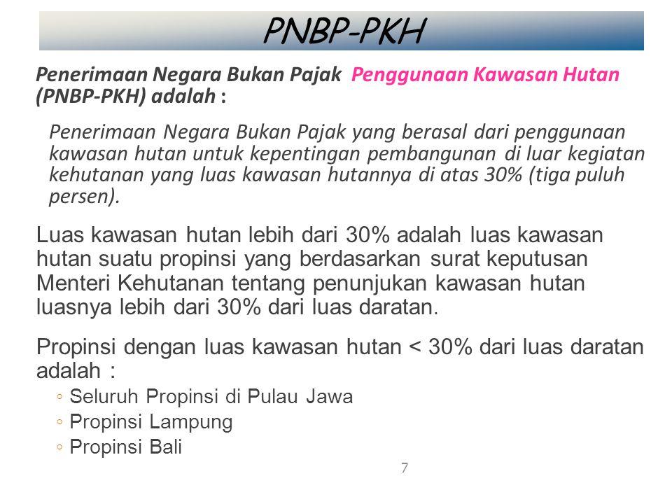 PNBP-PKH Penerimaan Negara Bukan Pajak Penggunaan Kawasan Hutan (PNBP-PKH) adalah : Penerimaan Negara Bukan Pajak yang berasal dari penggunaan kawasan