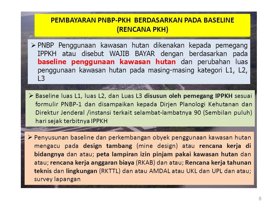 8 PEMBAYARAN PNBP-PKH BERDASARKAN PADA BASELINE (RENCANA PKH) PEMBAYARAN PNBP-PKH BERDASARKAN PADA BASELINE (RENCANA PKH)  PNBP Penggunaan kawasan hu