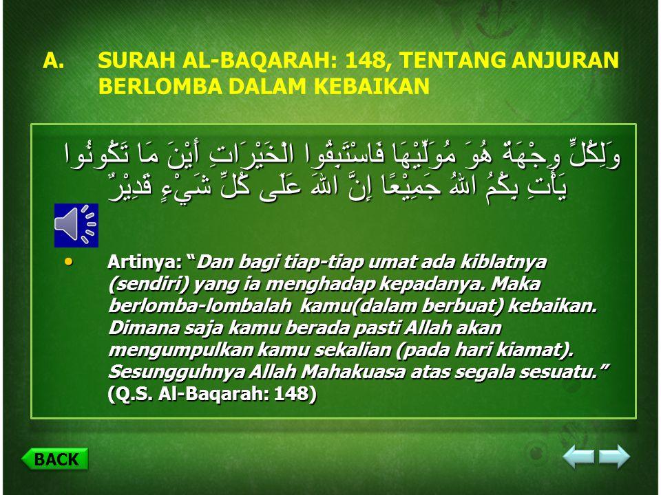 (A) SURAH AL BAQARAH:148 TENTANG ANJURAN BERLOMBA-LOMBA DALAM KEBAIKAN BACK