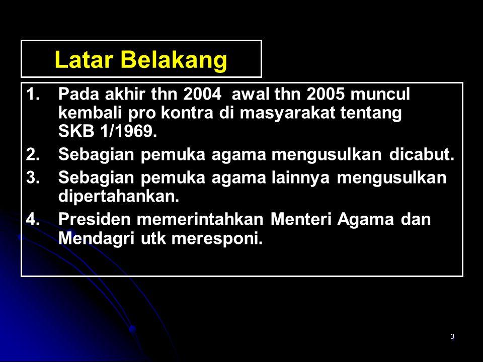 24 KETENTUAN UMUM 1.Kerukunan umat beragama adalah keadaan hubungan sesama umat beragama yang dilandasi toleransi, saling pengertian, saling menghormati, menghargai kesetaraan dalam pengamalan ajaran agamanya dan kerjasama dalam kehidupan bermasyarakat, berbangsa dan bernegara di dalam Negara Kesatuan Republik Indonesia berdasarkan Pancasila dan Undang-Undang Dasar Negara Republik Indonesia Tahun 1945.