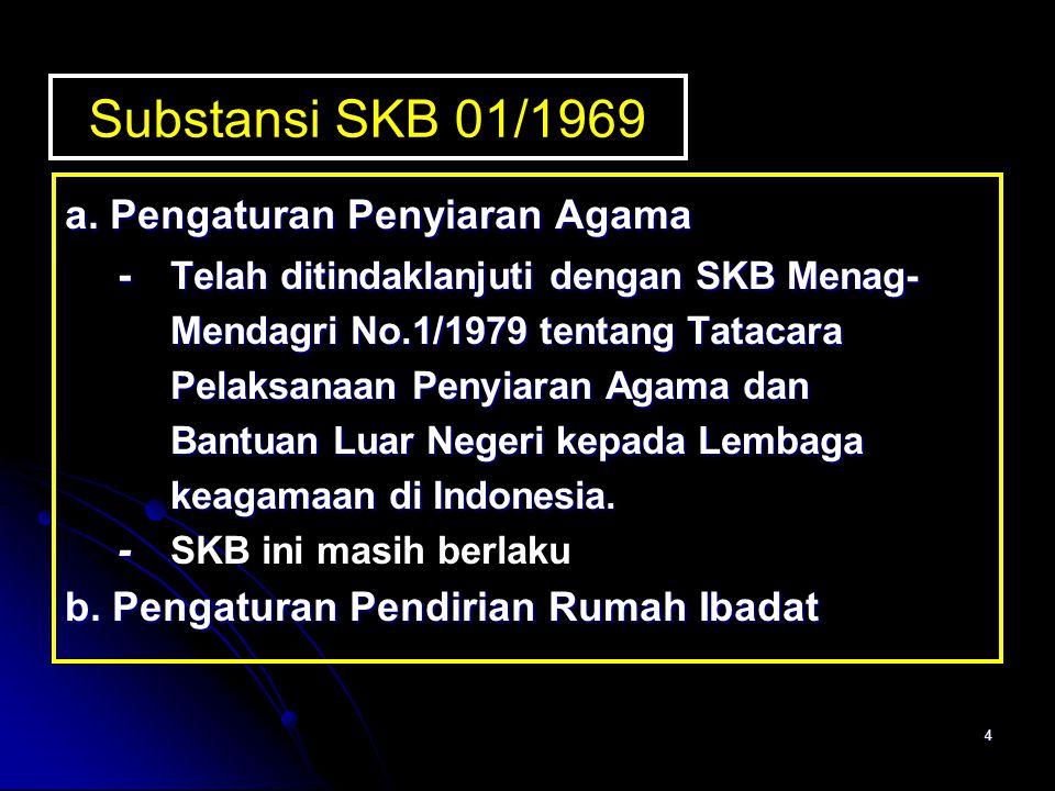 4 Substansi SKB 01/1969 a. Pengaturan Penyiaran Agama - Telah ditindaklanjuti dengan SKB Menag- Mendagri No.1/1979 tentang Tatacara Pelaksanaan Penyia