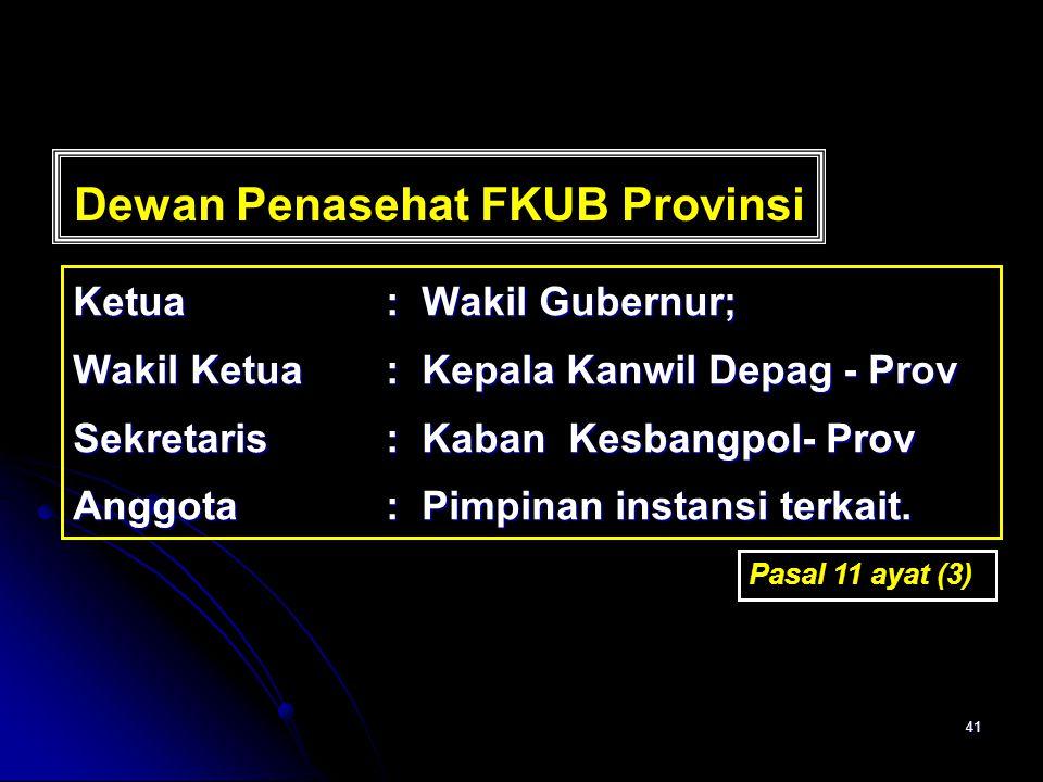 41 Dewan Penasehat FKUB Provinsi Ketua: Wakil Gubernur; Wakil Ketua: Kepala Kanwil Depag - Prov Sekretaris: Kaban Kesbangpol- Prov Anggota: Pimpinan i