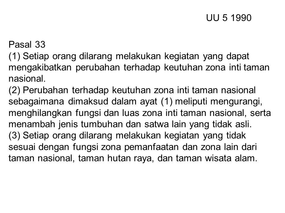 Pasal 33 (1) Setiap orang dilarang melakukan kegiatan yang dapat mengakibatkan perubahan terhadap keutuhan zona inti taman nasional.