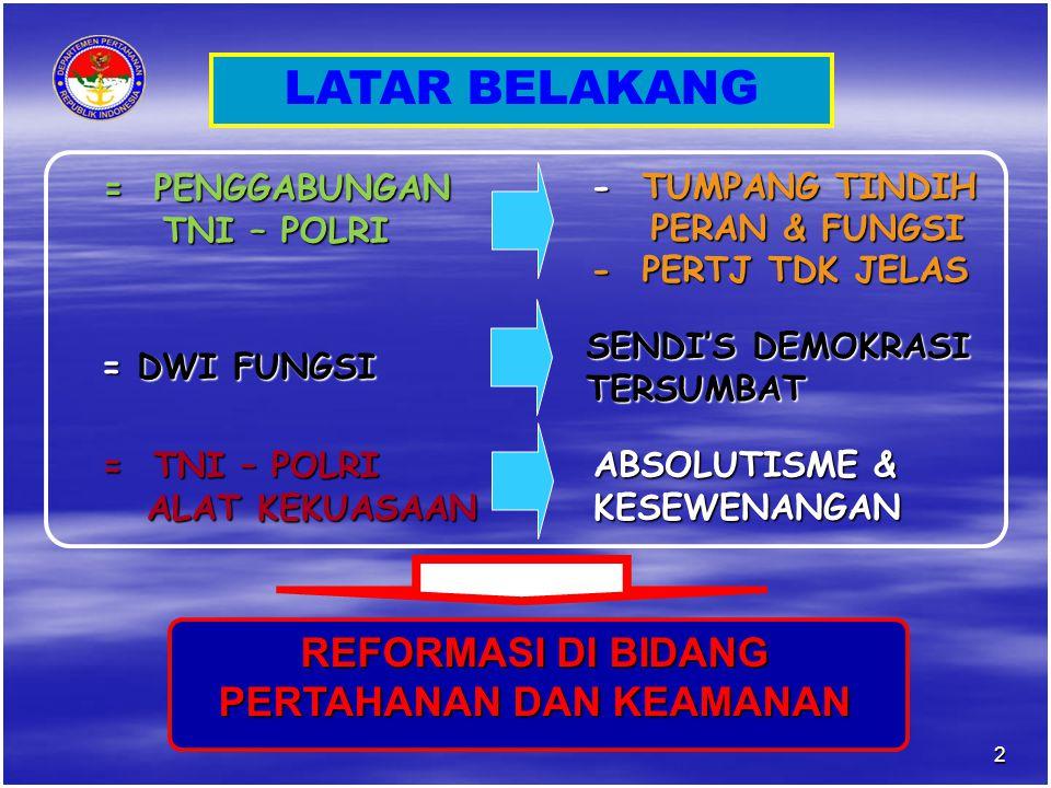 LATAR BELAKANG = PENGGABUNGAN TNI – POLRI TNI – POLRI - TUMPANG TINDIH PERAN & FUNGSI PERAN & FUNGSI - PERTJ TDK JELAS = DWI FUNGSI SENDI'S DEMOKRASI