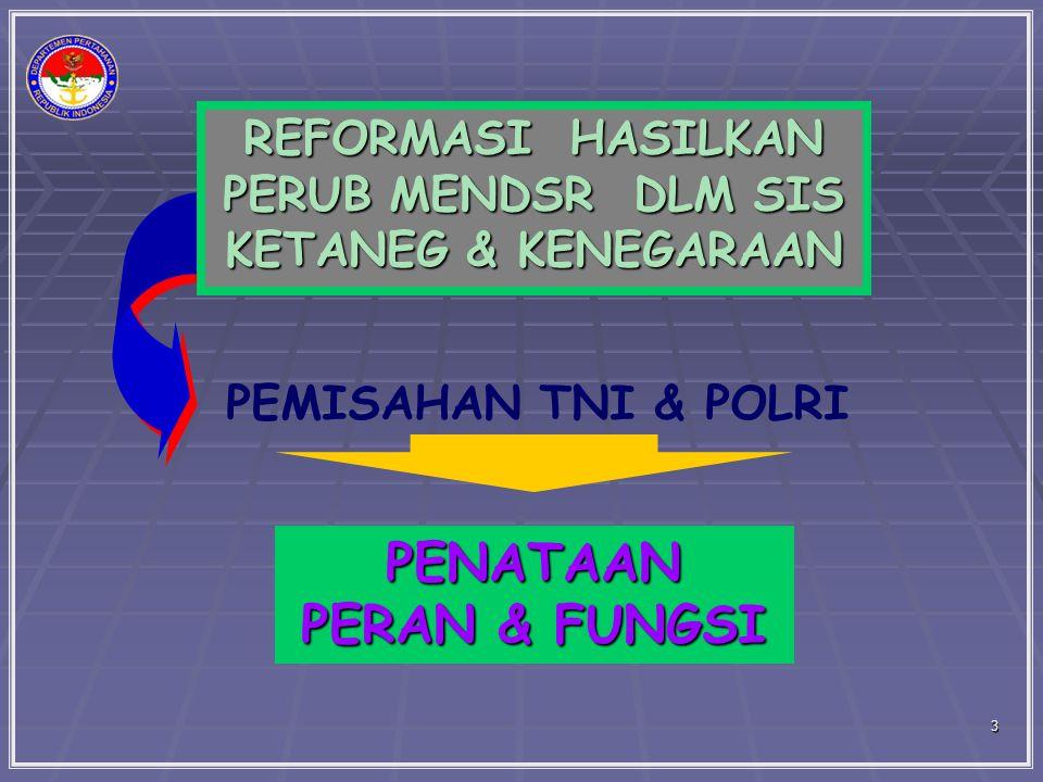 PEMISAHAN TNI & POLRI REFORMASI HASILKAN PERUB MENDSR DLM SIS KETANEG & KENEGARAAN PENATAAN PERAN & FUNGSI 3