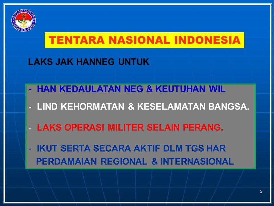 TENTARA NASIONAL INDONESIA LAKS JAK HANNEG UNTUK - HAN KEDAULATAN NEG & KEUTUHAN WIL - LIND KEHORMATAN & KESELAMATAN BANGSA. - LAKS OPERASI MILITER SE
