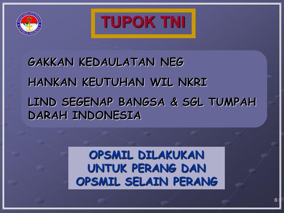 TUPOK TNI GAKKAN KEDAULATAN NEG HANKAN KEUTUHAN WIL NKRI LIND SEGENAP BANGSA & SGL TUMPAH DARAH INDONESIA OPSMIL DILAKUKAN UNTUK PERANG DAN OPSMIL SEL