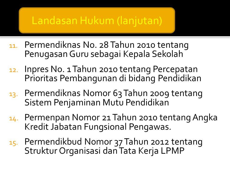 11. Permendiknas No. 28 Tahun 2010 tentang Penugasan Guru sebagai Kepala Sekolah 12. Inpres No. 1 Tahun 2010 tentang Percepatan Prioritas Pembangunan