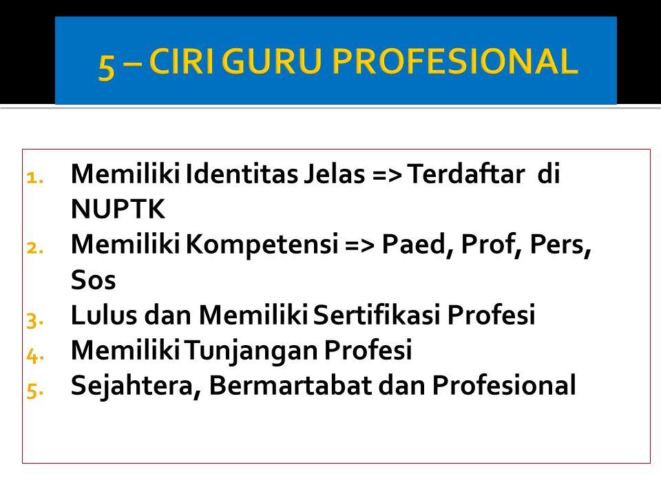 1. Memiliki Identitas Jelas => Terdaftar di NUPTK 2. Memiliki Kompetensi => Paed, Prof, Pers, Sos 3. Lulus dan Memiliki Sertifikasi Profesi 4. Memilik