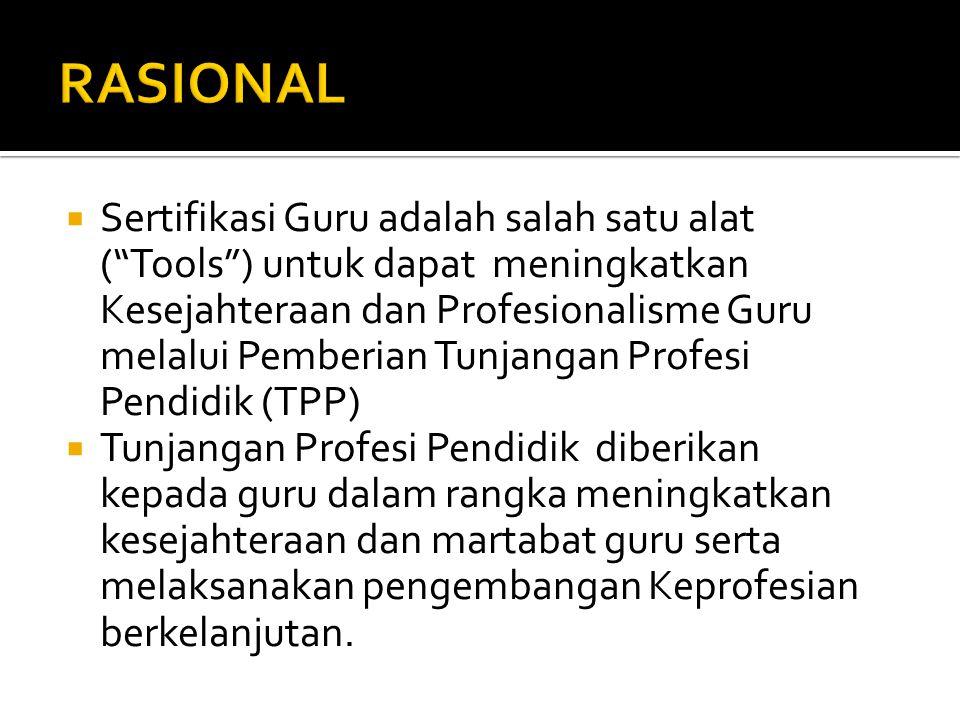 """ Sertifikasi Guru adalah salah satu alat (""""Tools"""") untuk dapat meningkatkan Kesejahteraan dan Profesionalisme Guru melalui Pemberian Tunjangan Profes"""