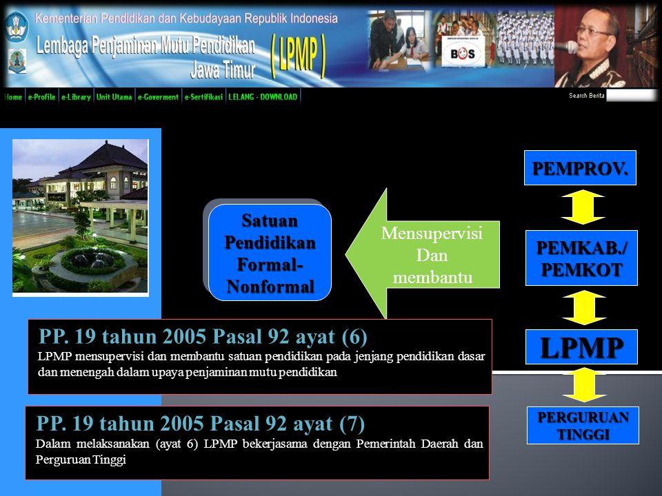 BAB I KEDUDUKAN, TUGAS, DAN FUNGSI Pasal 1 (1) Lembaga Penjaminan Mutu Pendidikan yang selanjutnya dalam Peraturan ini disebut LPMP, adalah unit pelaksana teknis Kementerian Pendidikan dan Kebudayaan.