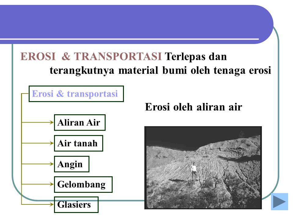 EROSI & TRANSPORTASI Terlepas dan terangkutnya material bumi oleh tenaga erosi Erosi & transportasi Aliran Air Air tanah Gelombang Angin Glasiers Eros