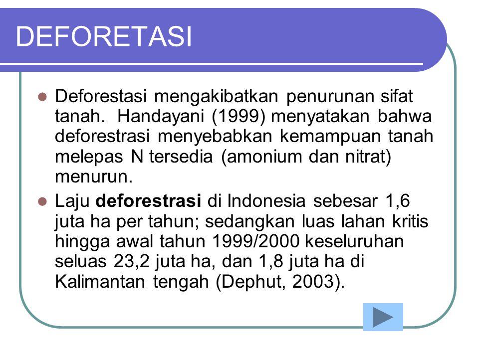 DEFORETASI  Deforestasi mengakibatkan penurunan sifat tanah. Handayani (1999) menyatakan bahwa deforestrasi menyebabkan kemampuan tanah melepas N ter
