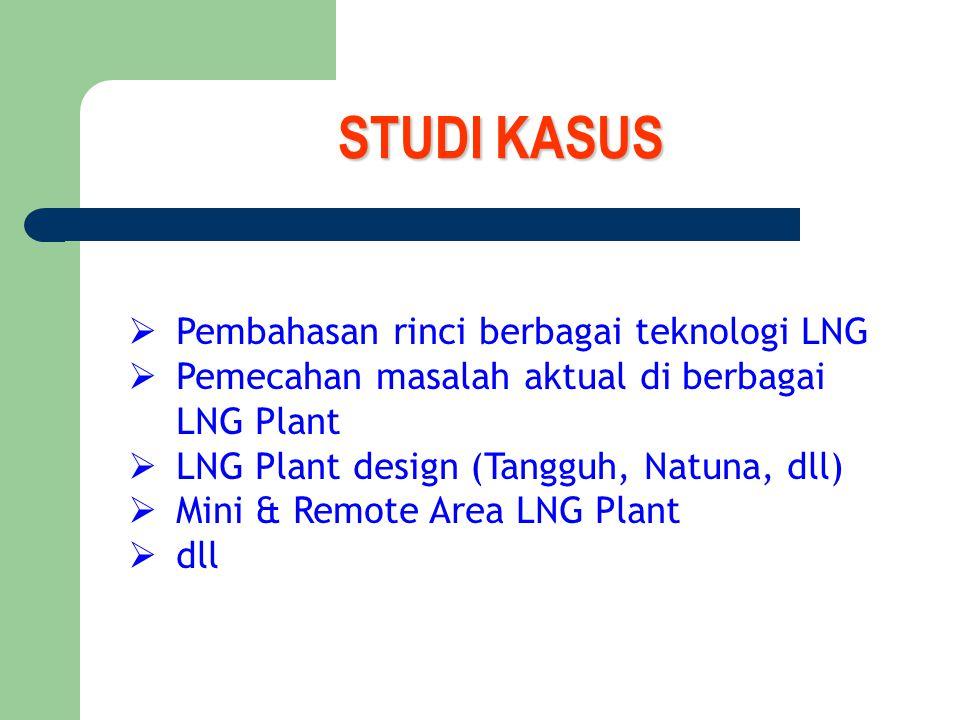 STUDI KASUS  Pembahasan rinci berbagai teknologi LNG  Pemecahan masalah aktual di berbagai LNG Plant  LNG Plant design (Tangguh, Natuna, dll)  Mini & Remote Area LNG Plant  dll