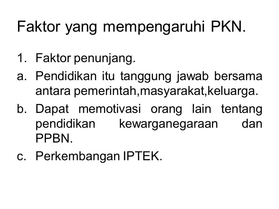 Faktor yang mempengaruhi PKN. 1.Faktor penunjang. a.Pendidikan itu tanggung jawab bersama antara pemerintah,masyarakat,keluarga. b.Dapat memotivasi or