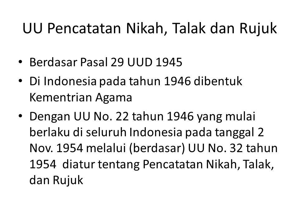 UU Pencatatan Nikah, Talak dan Rujuk • Berdasar Pasal 29 UUD 1945 • Di Indonesia pada tahun 1946 dibentuk Kementrian Agama • Dengan UU No. 22 tahun 19