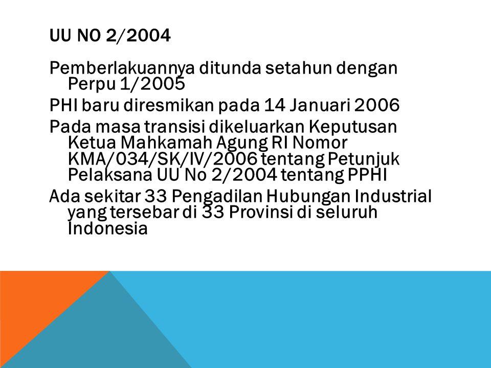 UU NO 2/2004 Pemberlakuannya ditunda setahun dengan Perpu 1/2005 PHI baru diresmikan pada 14 Januari 2006 Pada masa transisi dikeluarkan Keputusan Ketua Mahkamah Agung RI Nomor KMA/034/SK/IV/2006 tentang Petunjuk Pelaksana UU No 2/2004 tentang PPHI Ada sekitar 33 Pengadilan Hubungan Industrial yang tersebar di 33 Provinsi di seluruh Indonesia