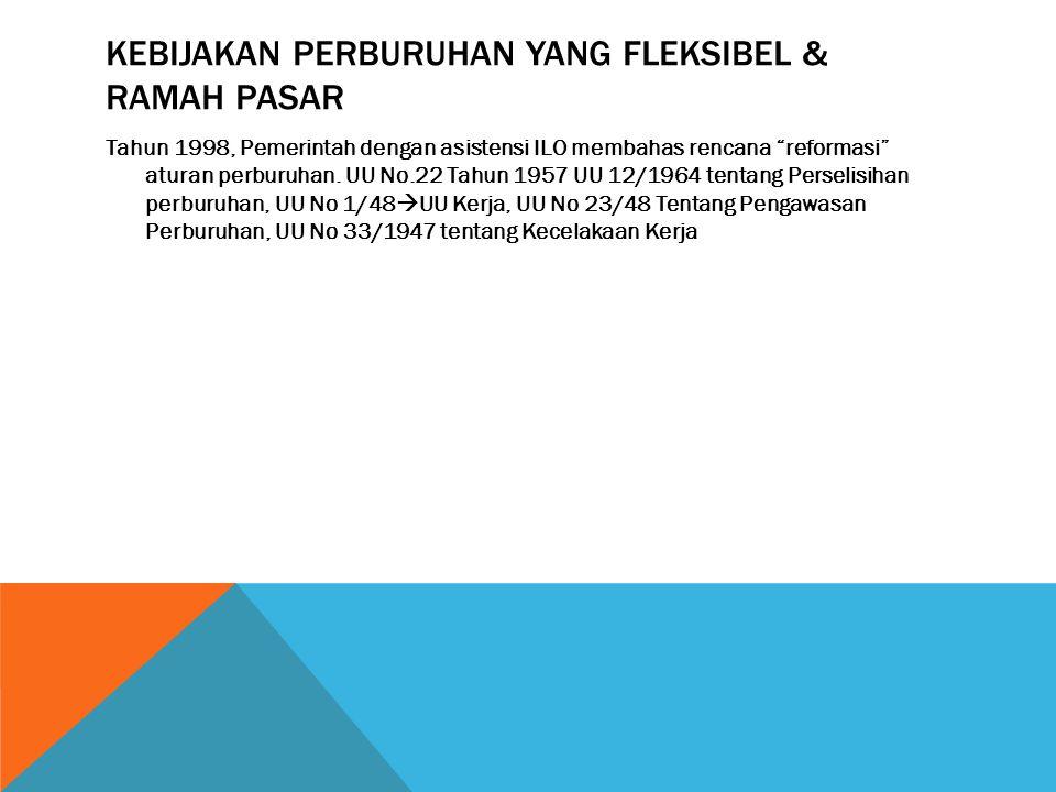 KEBIJAKAN PERBURUHAN YANG FLEKSIBEL & RAMAH PASAR Tahun 1998, Pemerintah dengan asistensi ILO membahas rencana reformasi aturan perburuhan.