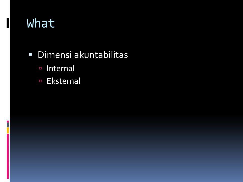 What  Dimensi akuntabilitas  Internal  Eksternal