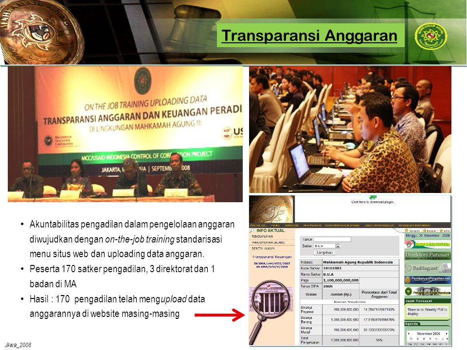 Jkwa_2008 Transparansi Anggaran •A•Akuntabilitas pengadilan dalam pengelolaan anggaran diwujudkan dengan on-the-job training standarisasi menu situs web dan uploading data anggaran.