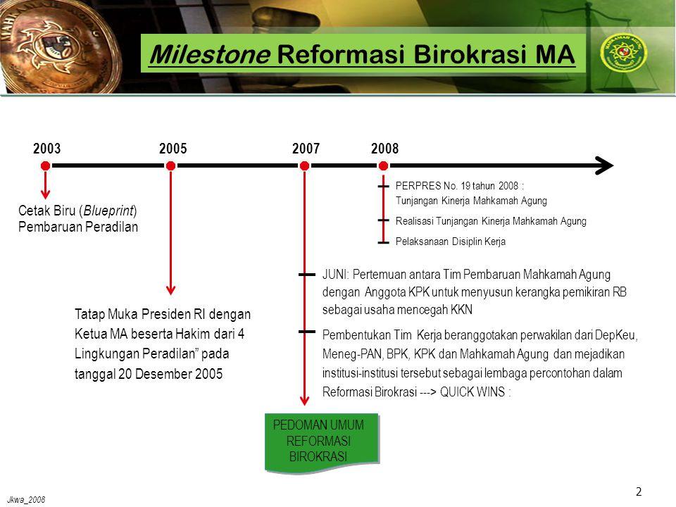 Jkwa_2008 2 Milestone Reformasi Birokrasi MA PEDOMAN UMUM REFORMASI BIROKRASI Cetak Biru ( Blueprint ) Pembaruan Peradilan 20032005 Tatap Muka Presiden RI dengan Ketua MA beserta Hakim dari 4 Lingkungan Peradilan pada tanggal 20 Desember 2005 2007 JUNI: Pertemuan antara Tim Pembaruan Mahkamah Agung dengan Anggota KPK untuk menyusun kerangka pemikiran RB sebagai usaha mencegah KKN Pembentukan Tim Kerja beranggotakan perwakilan dari DepKeu, Meneg-PAN, BPK, KPK dan Mahkamah Agung dan mejadikan institusi-institusi tersebut sebagai lembaga percontohan dalam Reformasi Birokrasi ---> QUICK WINS : 2008 PERPRES No.