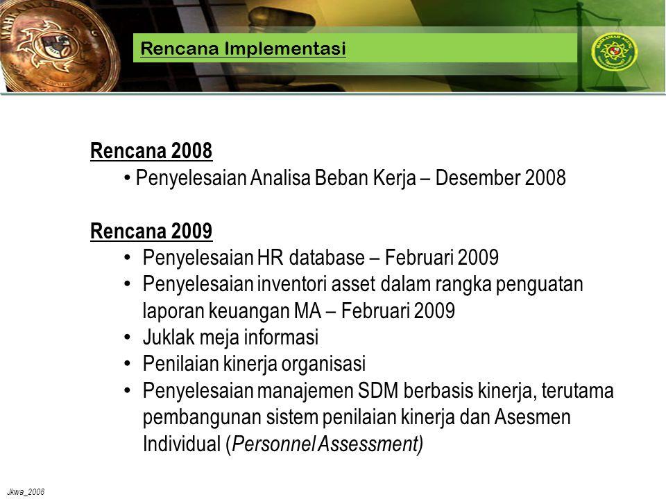 Jkwa_2008 Rencana Implementasi Rencana 2008 • Penyelesaian Analisa Beban Kerja – Desember 2008 Rencana 2009 • Penyelesaian HR database – Februari 2009 • Penyelesaian inventori asset dalam rangka penguatan laporan keuangan MA – Februari 2009 • Juklak meja informasi • Penilaian kinerja organisasi • Penyelesaian manajemen SDM berbasis kinerja, terutama pembangunan sistem penilaian kinerja dan Asesmen Individual ( Personnel Assessment)