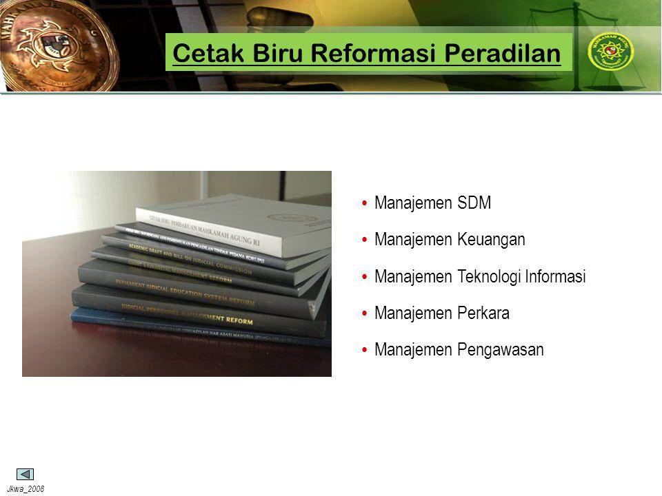 Jkwa_2008 Cetak Biru Reformasi Peradilan • Manajemen SDM • Manajemen Keuangan • Manajemen Teknologi Informasi • Manajemen Perkara • Manajemen Pengawas