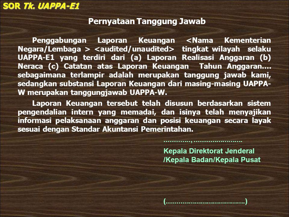 Pernyataan Tanggung Jawab SOR Tk. UAPPA-E1 Penggabungan Laporan Keuangan tingkat wilayah selaku UAPPA-E1 yang terdiri dari (a) Laporan Realisasi Angga