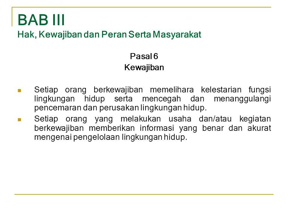 BAB III Hak, Kewajiban dan Peran Serta Masyarakat Pasal 6 Kewajiban  Setiap orang berkewajiban memelihara kelestarian fungsi lingkungan hidup serta m