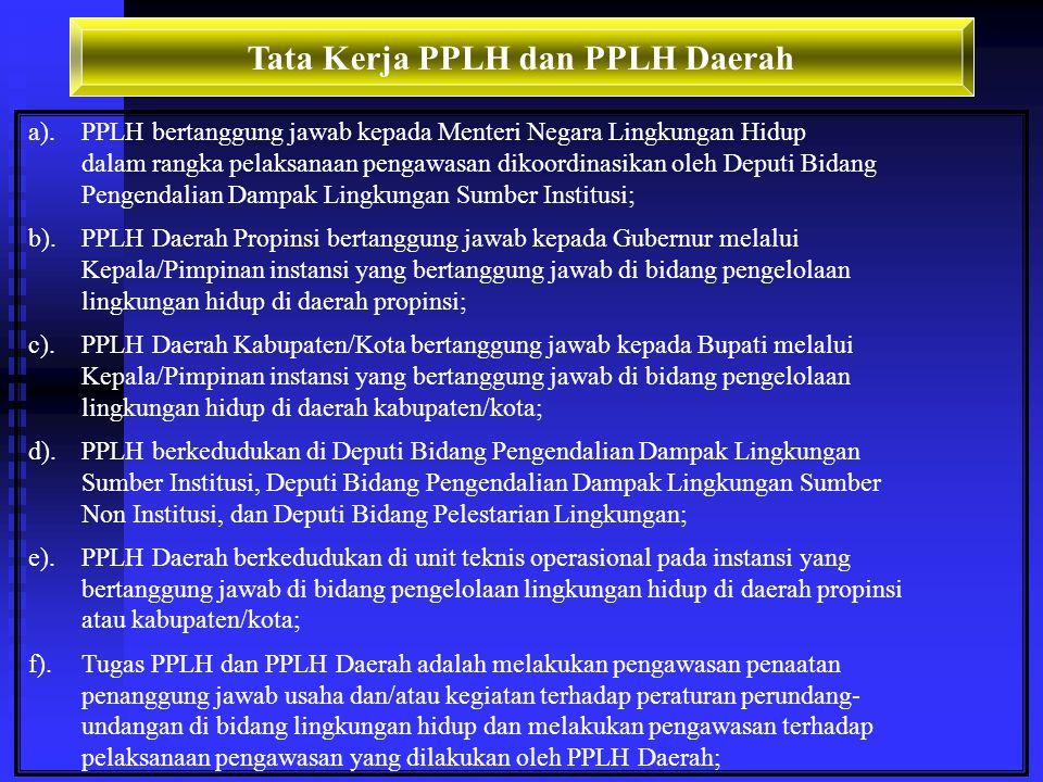 Pembinaan dan Pengawasan PPLH dan PPLH Daerah Pasal 19-20 Keputusan Menteri Negara Lingkungan Hidup Nomor 07 Tahun 2001: a.Pembinaan, bimbingan, pelat