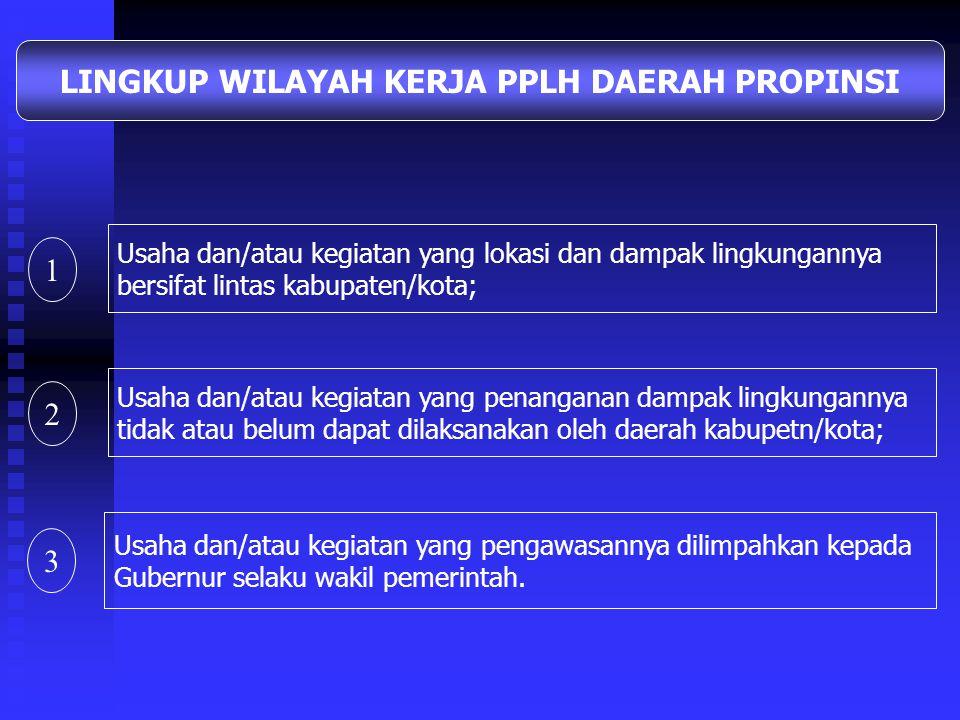 Usaha dan/atau kegiatan yang pengawasannya tidak atau belum dapat dilaksanakan oleh PPLH Daerah Propinsi; LINGKUP WILAYAH KERJA PPLH Usaha dan/atau ke