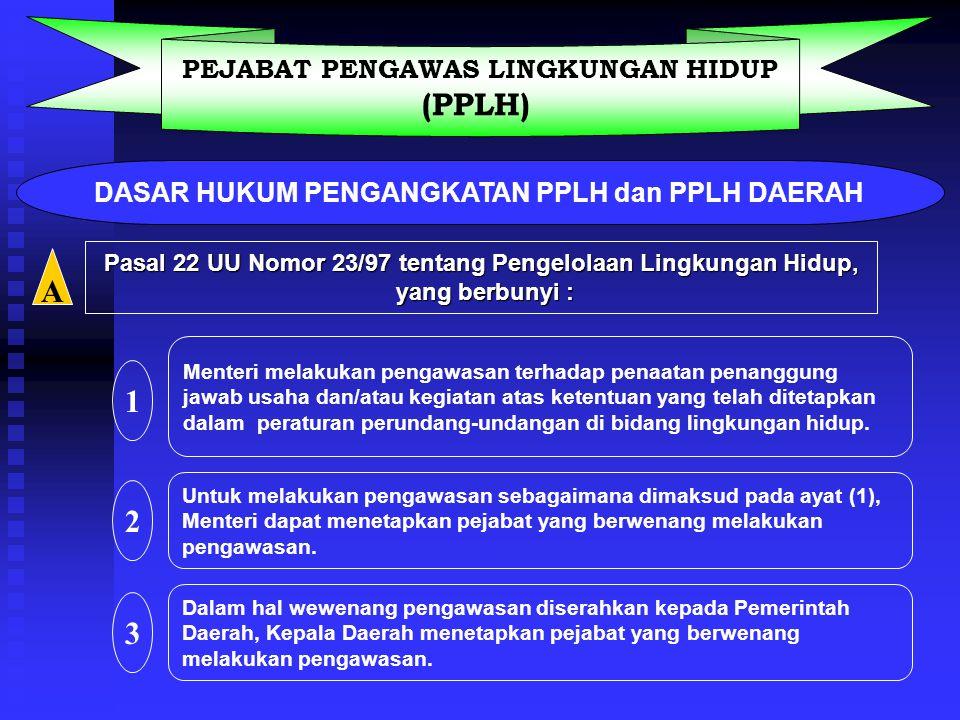 PENGAWASAN LH Kegiatan yang dilaksanakan secara langsung atau tidak langsung oleh PPLH dan PPLHD utk mengetahui tingkat ketaatan penanggung jawab usah