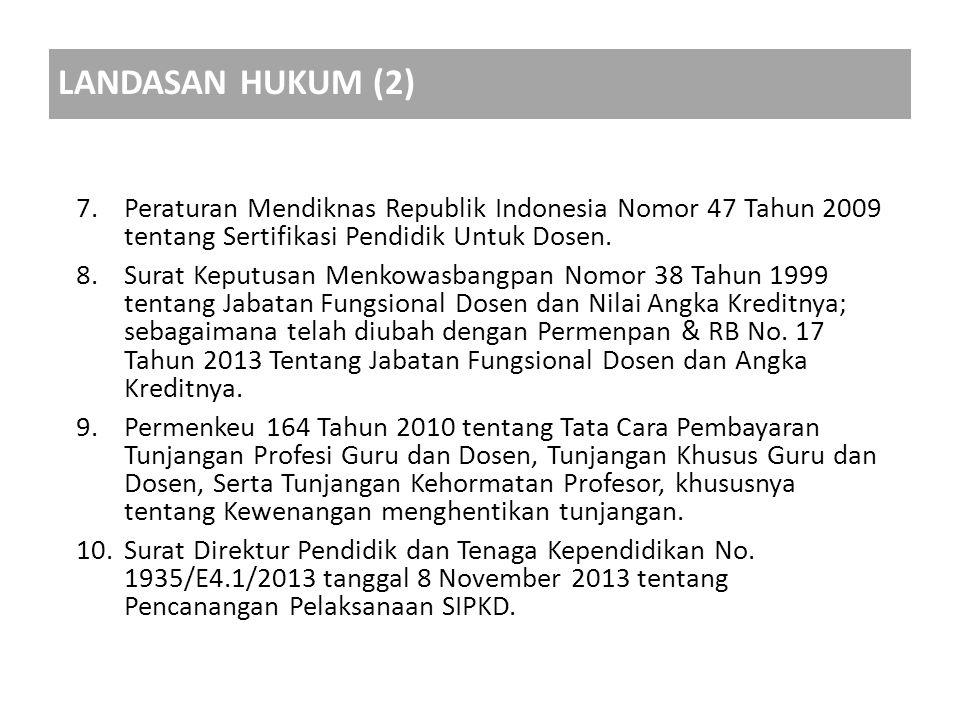 7.Peraturan Mendiknas Republik Indonesia Nomor 47 Tahun 2009 tentang Sertifikasi Pendidik Untuk Dosen. 8.Surat Keputusan Menkowasbangpan Nomor 38 Tahu
