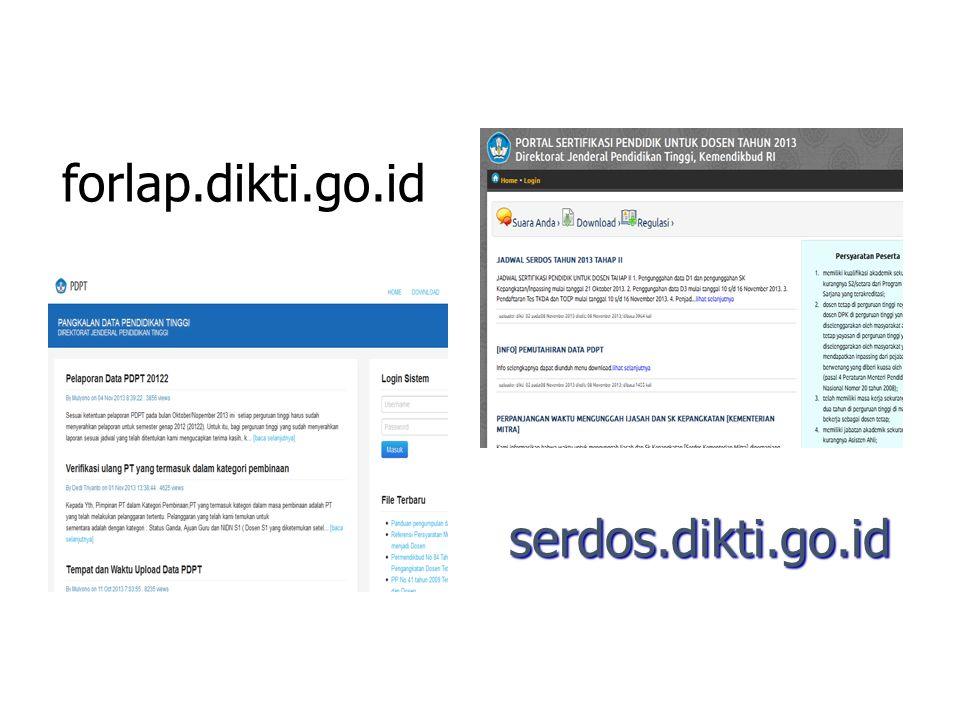 forlap.dikti.go.id serdos.dikti.go.id