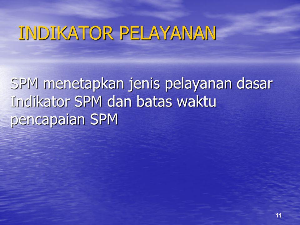 11 INDIKATOR PELAYANAN SPM menetapkan jenis pelayanan dasar Indikator SPM dan batas waktu pencapaian SPM