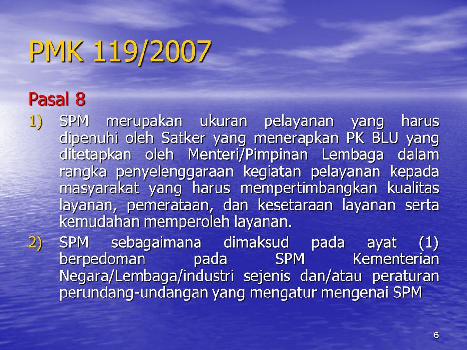 6 PMK 119/2007 Pasal 8 1)SPM merupakan ukuran pelayanan yang harus dipenuhi oleh Satker yang menerapkan PK BLU yang ditetapkan oleh Menteri/Pimpinan L