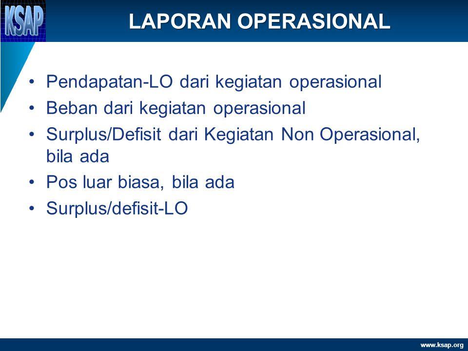 www.ksap.org •Pendapatan-LO dari kegiatan operasional •Beban dari kegiatan operasional •Surplus/Defisit dari Kegiatan Non Operasional, bila ada •Pos l