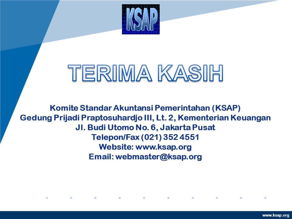 www.ksap.org Komite Standar Akuntansi Pemerintahan (KSAP) Gedung Prijadi Praptosuhardjo III, Lt. 2, Kementerian Keuangan Jl. Budi Utomo No. 6, Jakarta