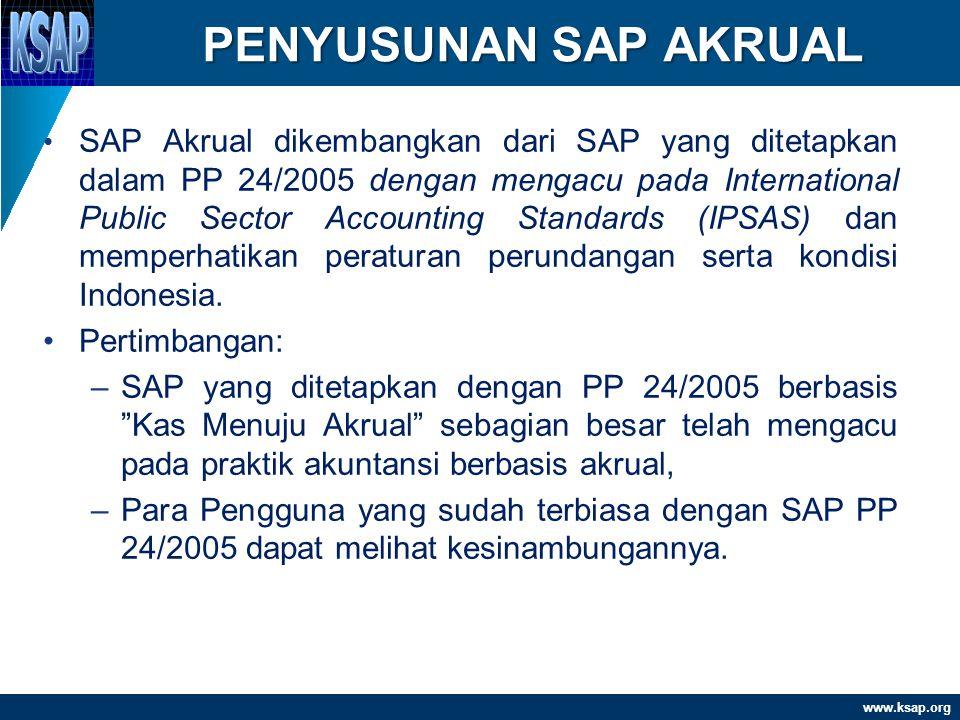 www.ksap.org KRONOLOGIS SAP AKRUAL 1.Dengar Pendapat (hearing) telah dilaksanakan dari tahun 2007 sampai tahun 2008 2.September 2008, konsultasi ke DPR 3.Desember 2008, draft final telah disampaikan ke BPK untuk dimintakan pertimbangan 4.Februari 2009, Surat Pertimbangan BPK 5.Agustus 2009, RPP SAP Akrual disampaikan ke Menkeu dan Menhukham 6.November 2009-Juni 2010, pembahasan dengan Menhukham 7.Juli 2010, RPP SAP Akrual disampaikan ke Mensesneg 8.Oktober 2010, terbit PP 71/2010 SAP Akrual