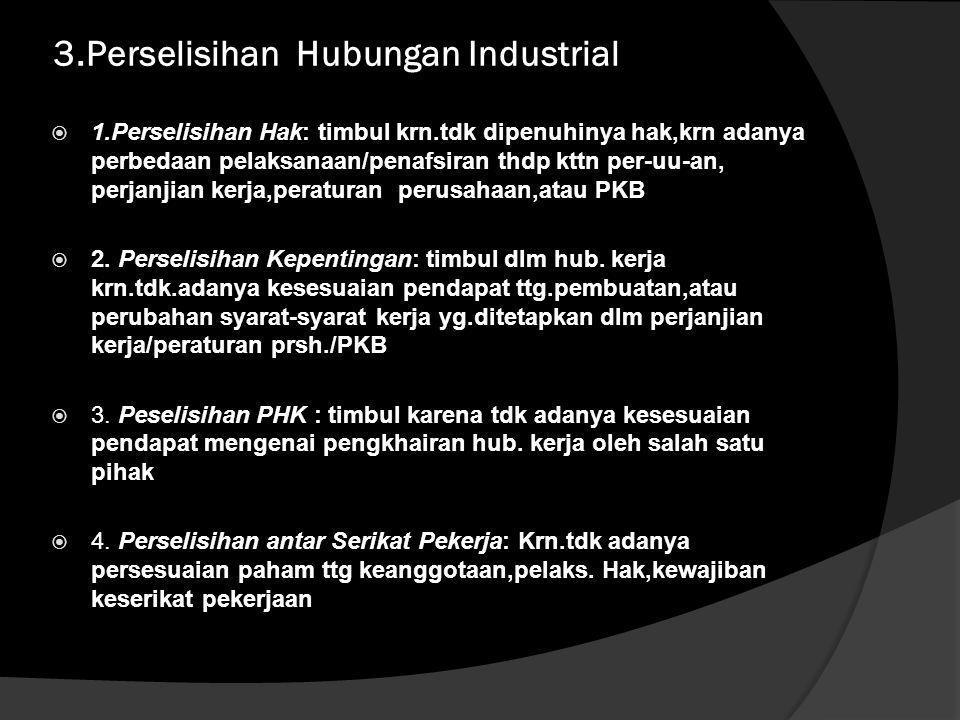 PERSELISIHAN DALAM HUBUNGAN INDUSTRIAL DAN PENYELESAIANNYA  Dasar Hukum Pengaturan : - UU No.13/2004 tentang Ketenagakerjaan, - UU No. 2/2004 tentang