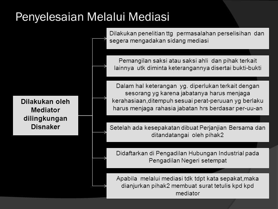Penyelesaian Melalui Mediasi  Proses Mediasi adalah penyelesaian perselisihan hak, perselisihan kepentingan, perselisihan PHK, perselisihan antar ser
