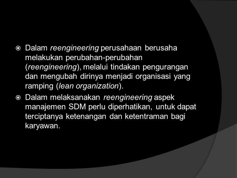Reengineering Organisasi dari Pendekatan MSDM  Konsep Reengineering adalah proses perubahan yang dilaksanakan oleh suatu organisasi/ perusahaan dalam