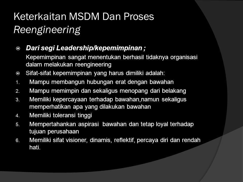 Penyebab kegagalan reengineering suatu perusahaan ditinjau dari pendekatan MSDM  Faktor penolakkan untuk berubah,baik perilaku maupun budaya organisa