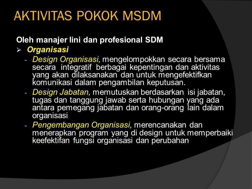 KARAKTERISTIK MSDM  Berorientasi pada komitmen  Menekankan integrasi strategi bisnis dengan SDM  Penggerak aktivitas manajemen puncak  Peningkatan