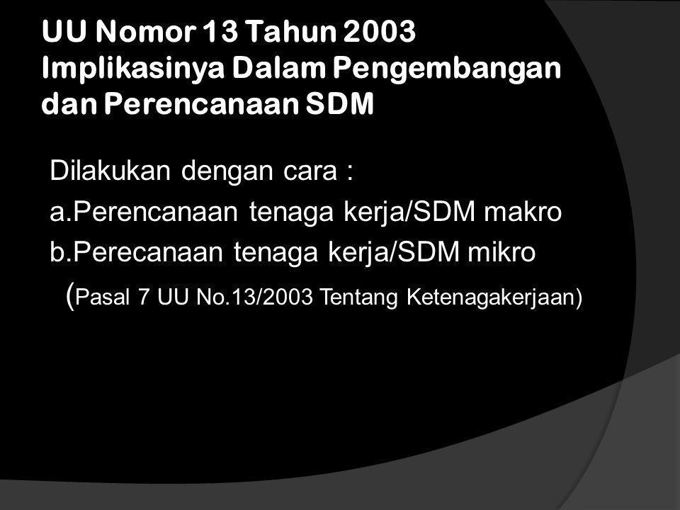 Implikasi undang-undang dalam manajemen perencanaan SDM  Perencanaan SDM sebagai proses menentukan kebutuhan tenaga kerja, mempertemukan kebutuhan te