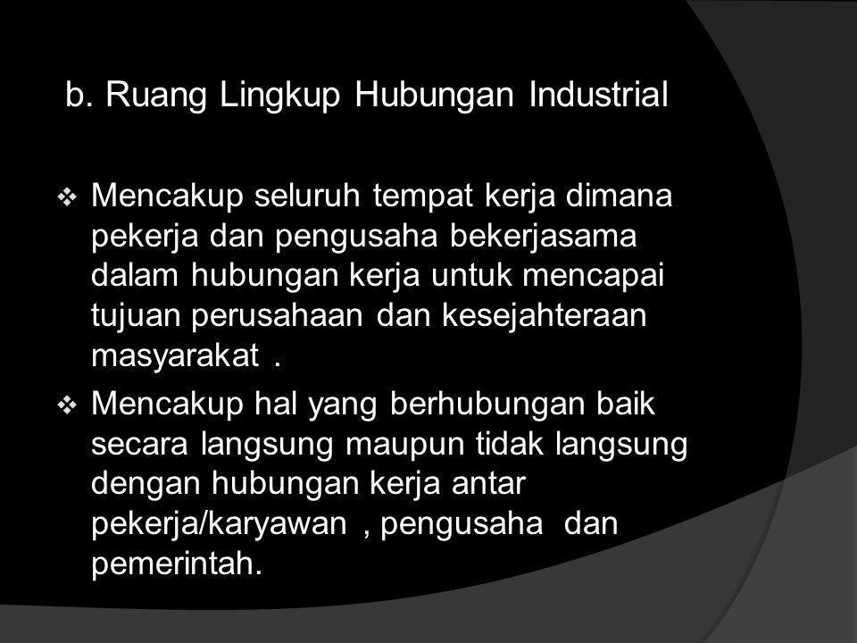 a. Hubungan Industrial  Suatu sistem hubungan yang terbentuk antara para pelaku dalam proses produksi barang dan/atau jasa,yaitu pekerja, pengusaha,